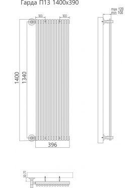 Полотенцесушитель Гарда П13 396x1400
