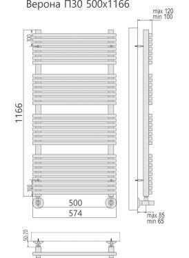 Полотенцесушитель Верона П30 574x1166